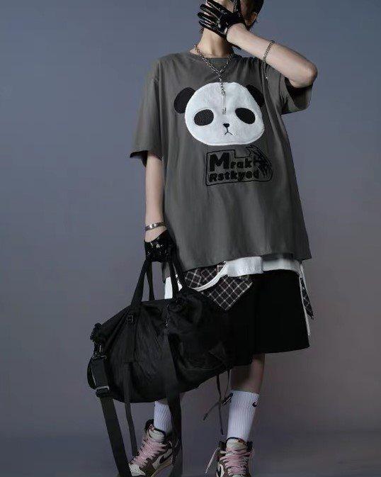 《3色》オーバーサイズパンダフェイスTシャツの画像3